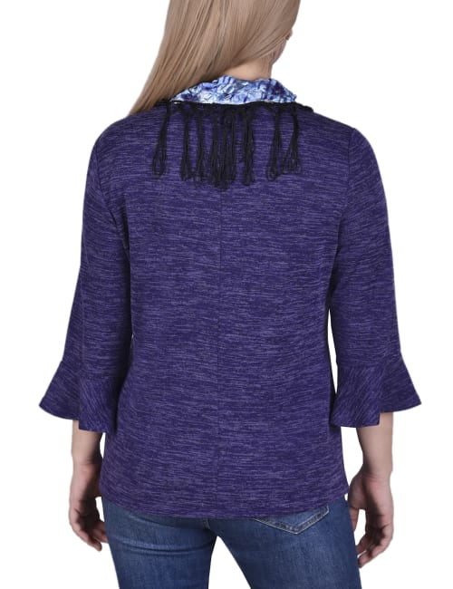 Petite Three Quarters Sleeve Top With Detachable Fringed Scarf - Back
