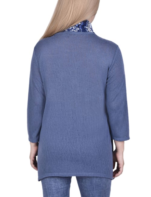 Petite Cardigan With Inset And Detachable Printed Scarf - Back