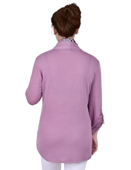 3/4 Roll Sleeve 3Fer Cardigan With Detachable Scarf - Petite - Back