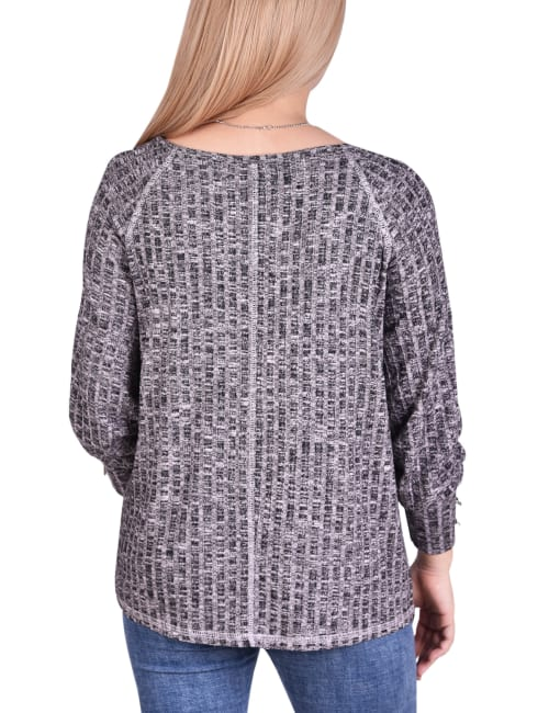 Long Sleeve Ribbed Pullover With Detachable Necklace - Petite - Back