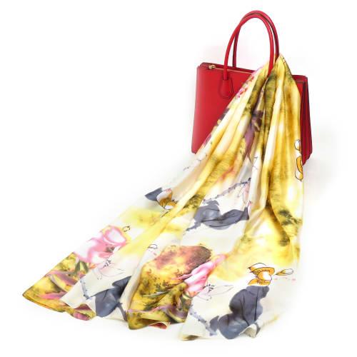 Soft Floral Vintage Pashmina Silk Scarf - Back