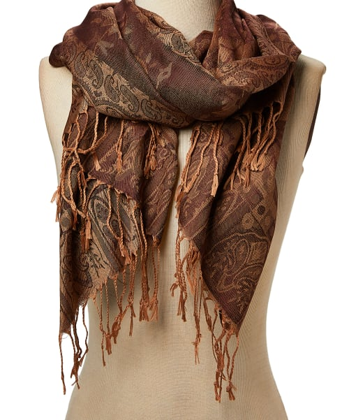 Women Floral Scarf Jacquard Scarves Paisley Pashmina Acrylic Shawl Wrap Stole - Back