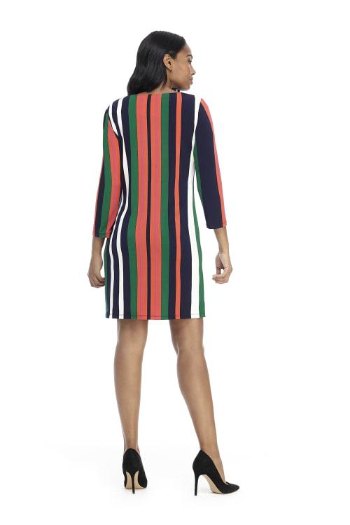 Veronica Three Quarter Sleeve Striped Shift Dress - Petite - Back