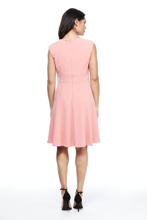 Betty Cap Sleeve Tie Waist Fit and Flare Dress - Petite - Back