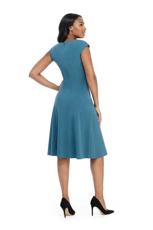 Cheryl Cap Sleeve Side Tuck Fit and Flare Dress - Petite - Back