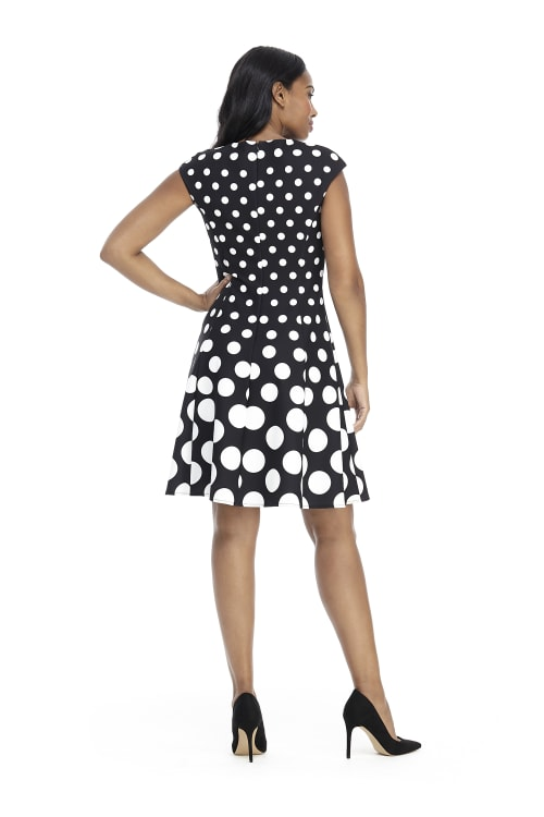 Ellie Cap Sleeve Dot Fit and Flare Dress - Petite - Back