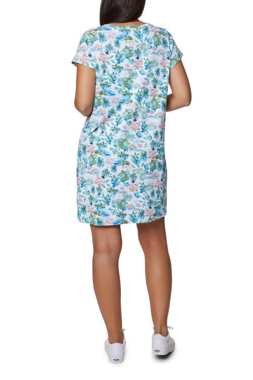 Caribbean Joe V-Neck Embroidered Dress - Back