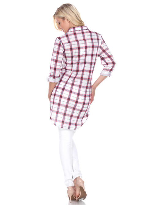 Piper Stretchy Plaid Tunic Top - Back
