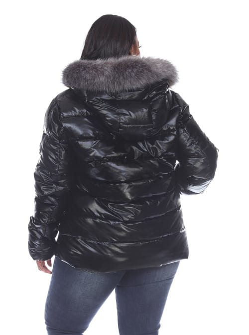 Hooded Metallic Puffer Coat - Plus - Back