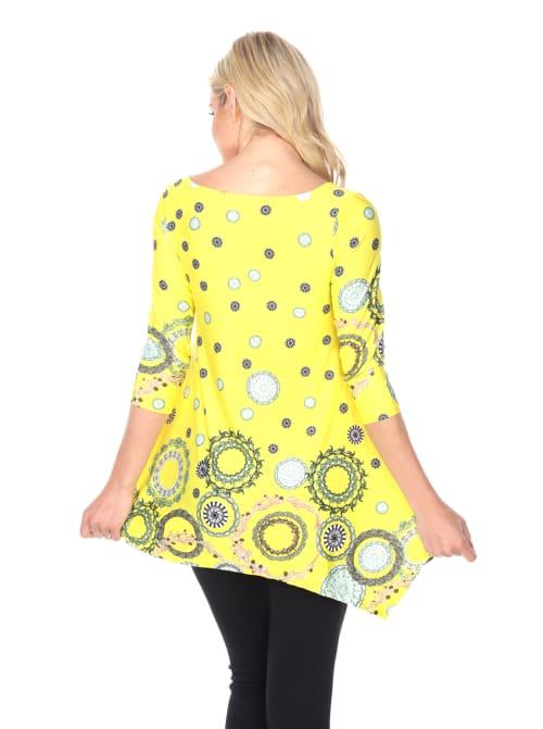 Erie 3/4 Sleeves Flirty Print Tunic Top - Back