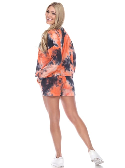 Long Sleeve Tie Dye Lounge Top And Short Set - Back