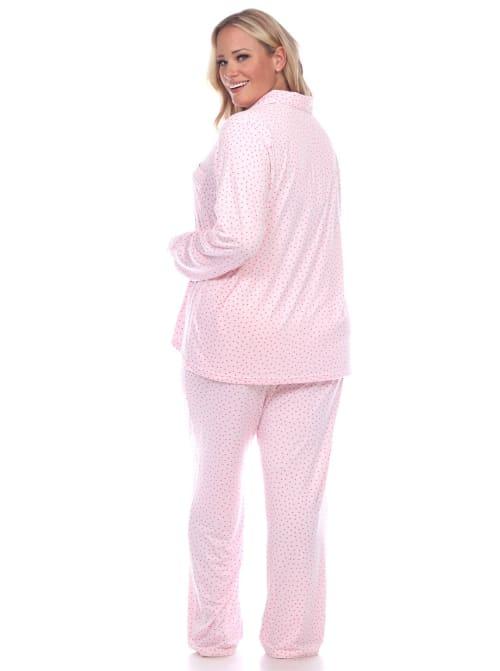 Long Sleeve Top Full Length Bottoms Sleepwear Pajama Set - Plus - Back