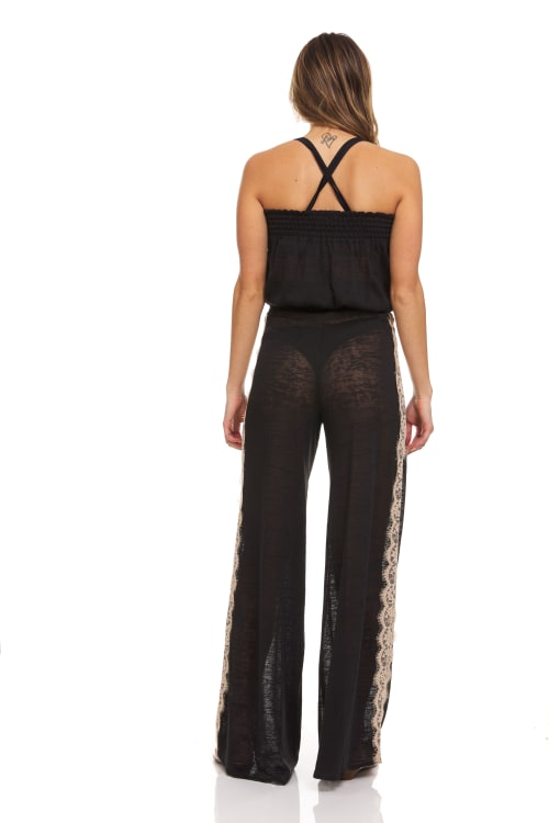 Strapless Lace Trim Beach Cover Up Jumpsuit - Back