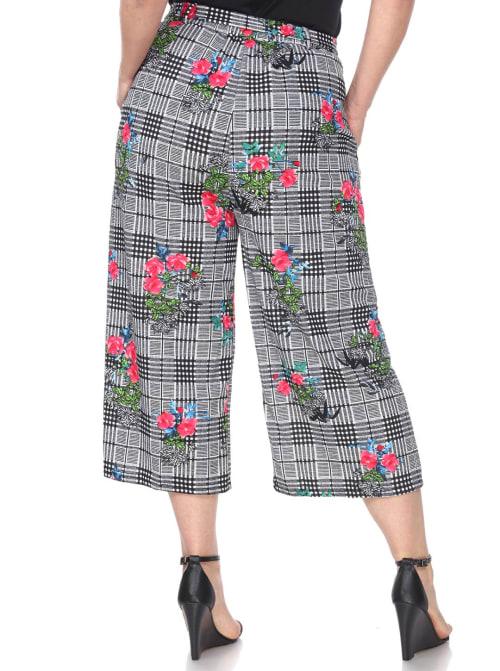 Retro Gaucho Geometric Print Pants - Plus - Back