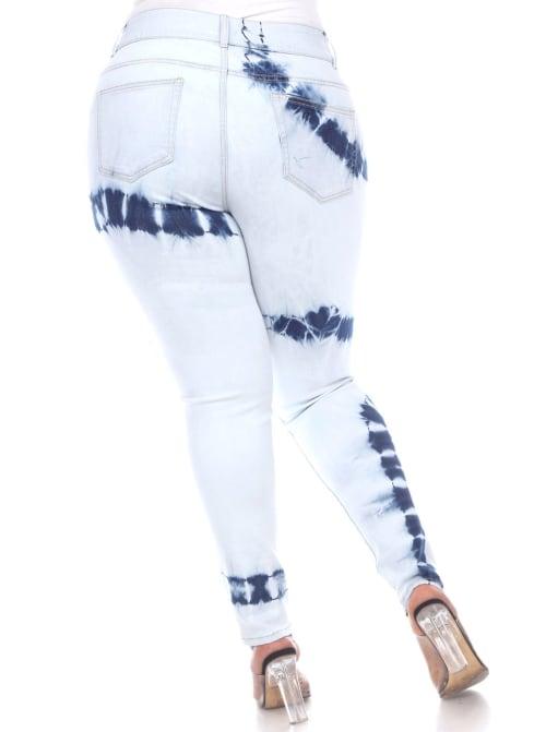 Tie Dye Light Blue Skinny Fit Denim Pants - Plus - Back