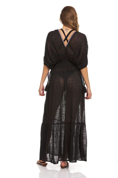 Solid Boho Beach Cover Up Maxi Dress - Back