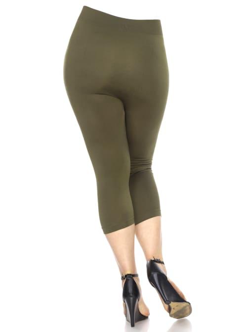 Super Soft Solid Color Capri Leggings - Plus - Back