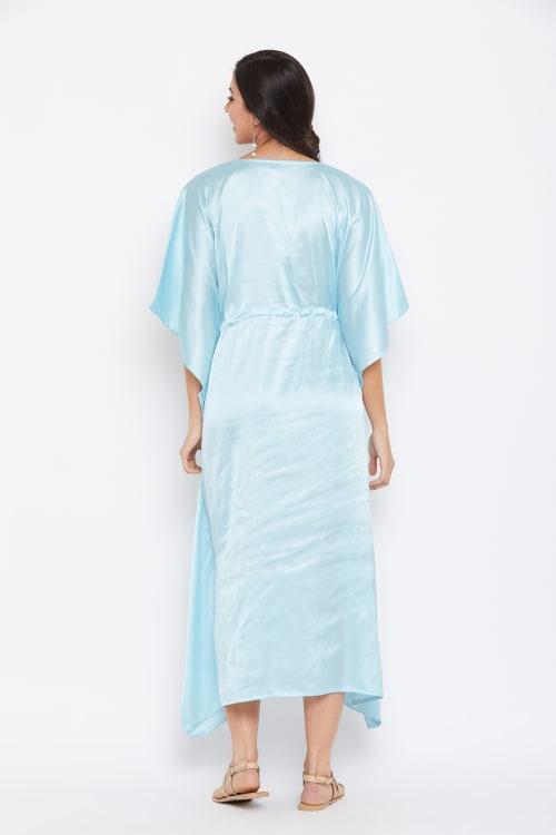 Long Satin Nightwear Kaftan Maxi Dress - Plus - Back