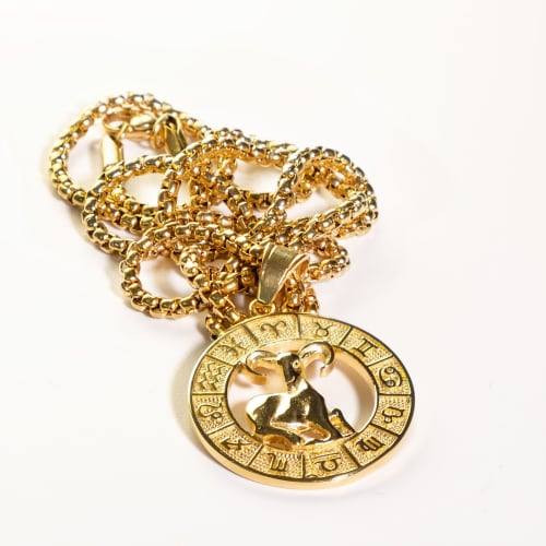 Dell Arte by Jean Claude Aries Zodiac Sign Pendants Necklace - Back