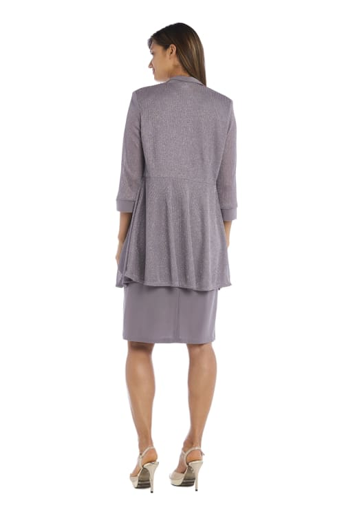 Short-Sleeved Dress And Metallic Detail Cardigan Set - Petite - Back