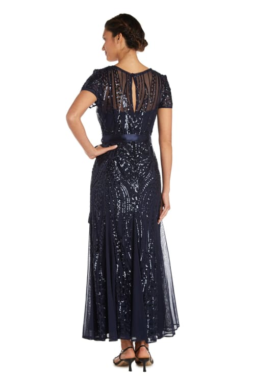 All-Over Embellishment And Satin Waist Tie Maxi Dress - Petite - Back