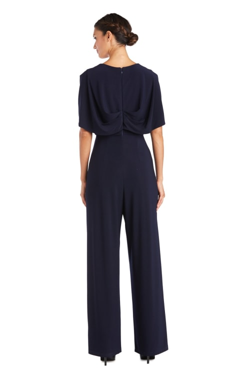 One Piece With Draped Bodice And Capelet Jumpsuit - Petite - Back