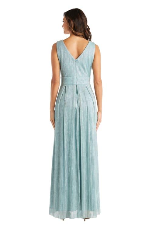 Rhinestone Trio Waistband Long Crinkle Pleated Sleeveless Dress - Petite - Back