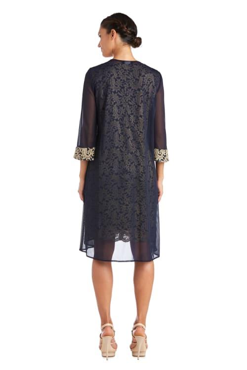 Two Piece Matte Chiffon Duster Jacket Dress With Two Tone Lace Tank Dress - Petite - Back