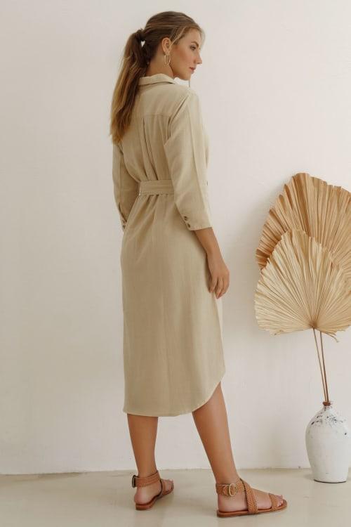 Jess Long Sleeves Button up Shirt Dress - Plus - Back