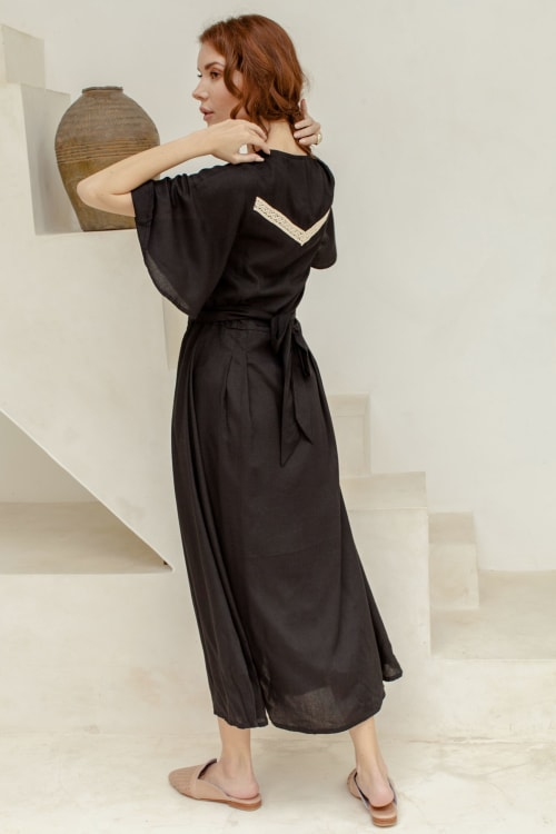 Lola Button Up Midi Dress - Plus - Back