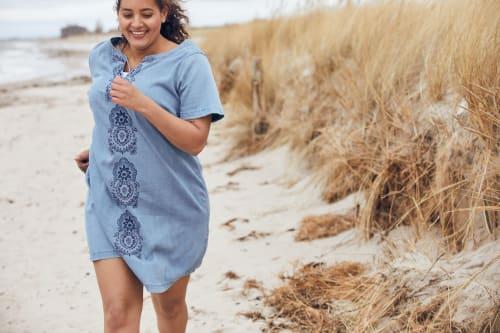 Denim Embroidered Sheath Dress  - Plus - Back