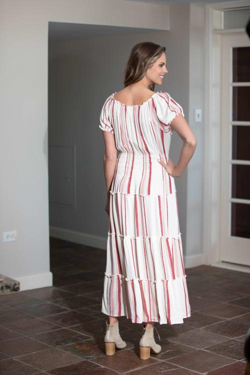 Vienna Stripe Maxi Peasant Dress - Back