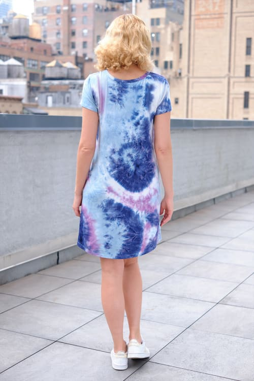 Magenta Tie Dye V-Neck Dress - Back