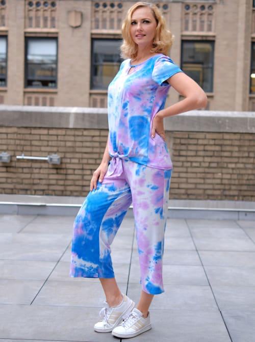 Violet Tie Dye Wide Leg Capri - Back