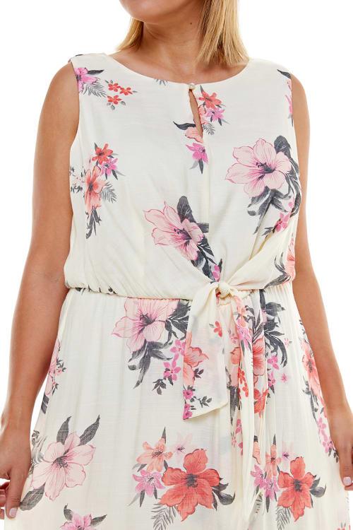 Floral Gauze Midi Dress - Plus - Back