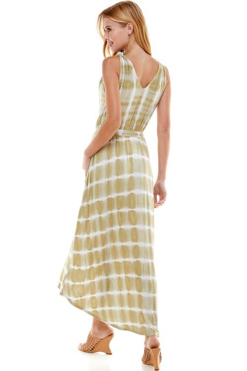 Tie Dye Faux Wrap Dress - Back