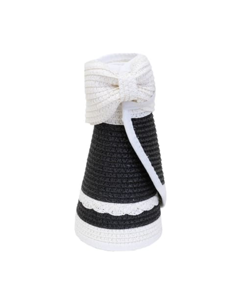 Striped Braided Bow With Adjustable Straw Visor - Back
