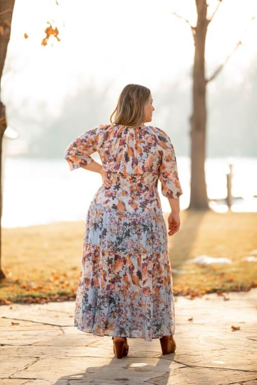 Veronica Blue Floral Peasant Dress - Plus - Back