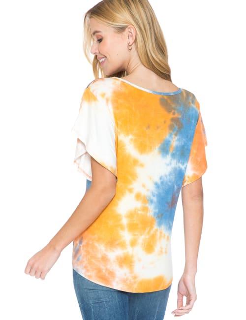 Westport Tie Dye Tie Front Knit Top - Back