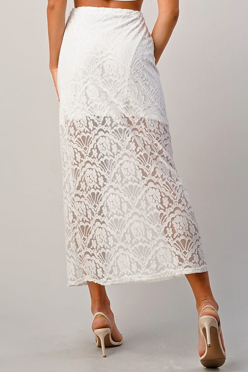 Kaii Lace Maxi Skirt With Cotton Core Bow - Back