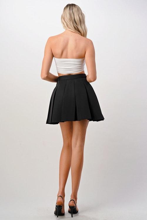 Kaii Pleated Mini Scuba Skirt - Back