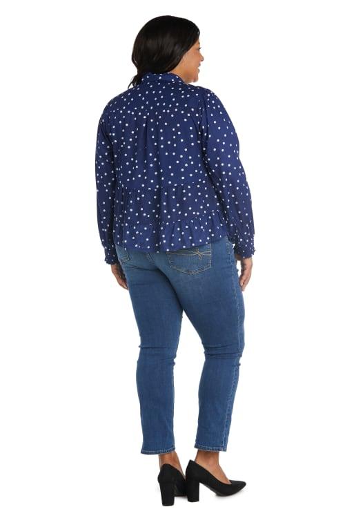 Westport Dot Button Front Blouse - Plus - Back