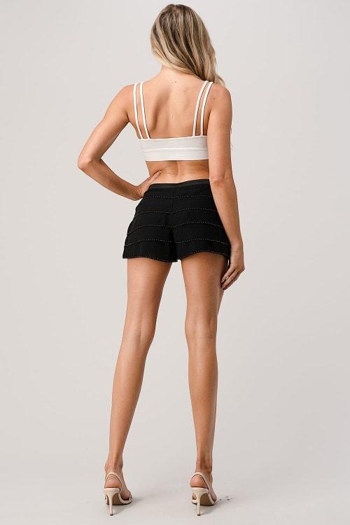 Kaii Beaded Scalloped Hem Shorts - Back