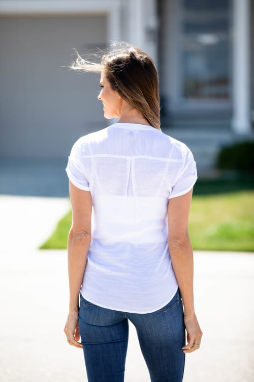 White Textured Button Front Shirt - Back