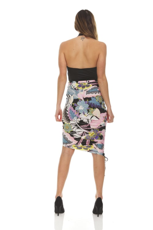 Printed Ruched Skirt - Back