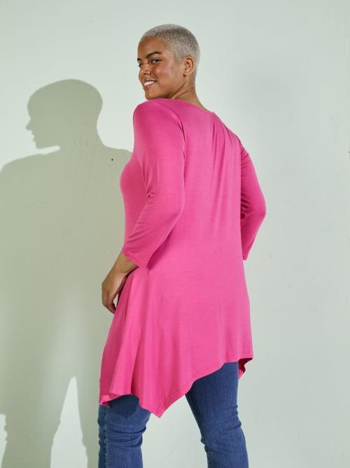 Makayla Three Quarter Sleeve Tunic Top - Plus - Back