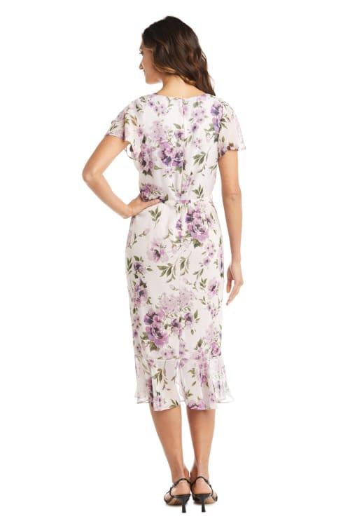 Chiffon Side Rushed Floral Dress - Back