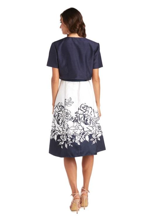 Floral Dress With Removable Jacket - Back