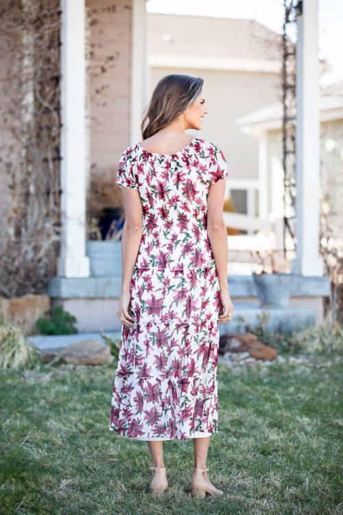 Vienna Wine Floral Maxi Dress - Back