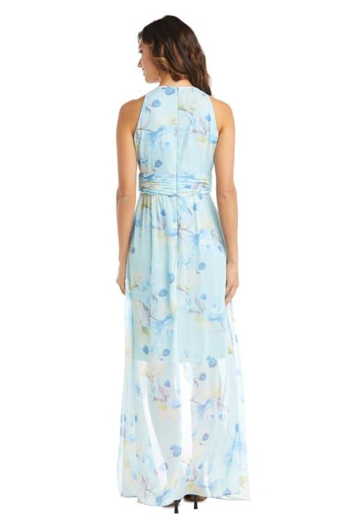 High-Low Floral Print Chiffon Dress - Back